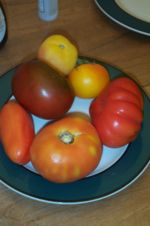 A variety of heirloom tomatoes.