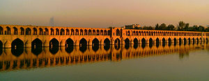 The masonry Bridge of 33 Arches over the Zayandeh River is the epitome of Safavid dynasty (1502-1722) bridge design. Esfahan, Iran.