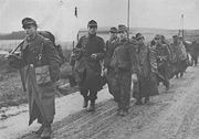 German troops after surrendering to the U.S. Third Army in WW2. The first soldier carries a white flag.
