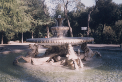 Three traditional fountain features: a low jet, a pair of raised basins, and sculpture with a water theme, here hippocamps (Villa Borghese, Rome)