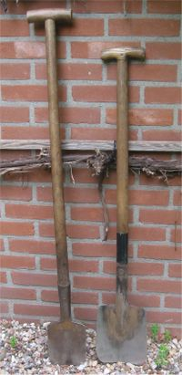 small spade for clay soil; the other one for sandy soil and loamy soil