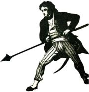 An old engraving of Capt. Rogers, armed with a boarding pike.