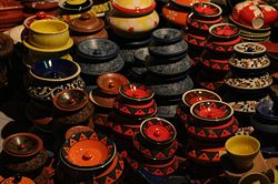 Pottery on display in Dilli Haat, Delhi, India.