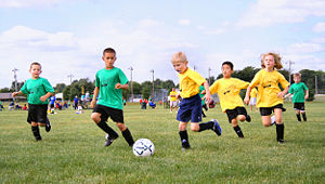 Sport from childhood. Football (soccer) shown above is a team sport, and has social importance.
