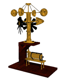 A CGI representation of an antique weather station.